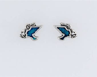Sterling Silver Turquoise Eagle Post or Stud Earrings