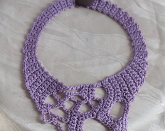 Lilac Freeform Crochet Statement  Necklace Choker  - Bohemian bib necklace