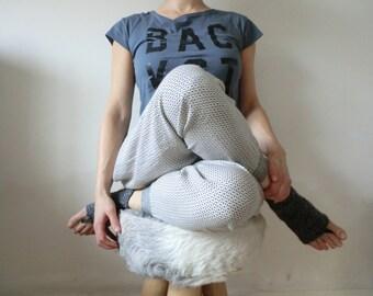 Wool leather yoga sock slipper handknitted  recycled Italian leather zen mode, gift. From JJePa