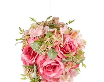 Pink Wedding Flowers artificial roses pomander kissing ball bridesmaid silk flower