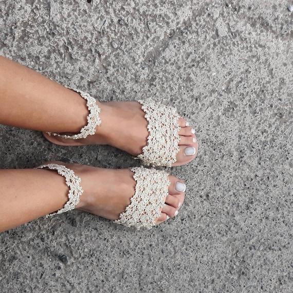 Pom Sandals Sandals Sandals Sandals RiRiPoM Gypsy Boho Sandals Anklet Sandals Tribal ''Atlantis'' Sandals Bridal Boho Lace Wedding Pom w1IqIY