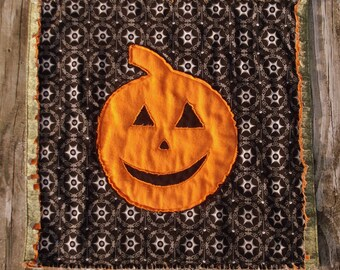 Halloween Jack O' Lantern  Mini Quilt