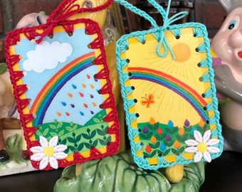 Vintage Crochet Playing Card Book Marks / Ornament -  Sunshine and Clouds Over the Rainbow - Set of 2