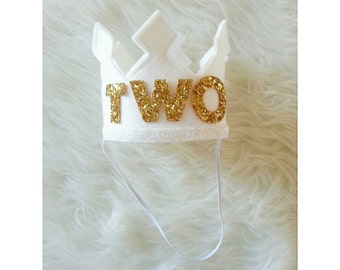 White and Gold Second Birthday Felt Crown | 2nd Birthday Crown | Photo Prop