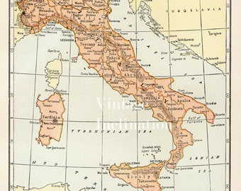 Antique 1940s ITALY Vintage Map atlas page