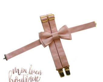 GOLD hardware, Blush Bow Tie, Suspenders, or Set for Adults & Children, Made in the USA, use code TENOFF5 at checkout for 10% off 5 or more