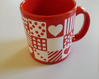 Vintage Red and White Waechtersbach Mug