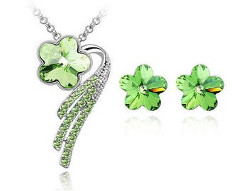 Silver Plated Green Crystal Necklace And Earring Set