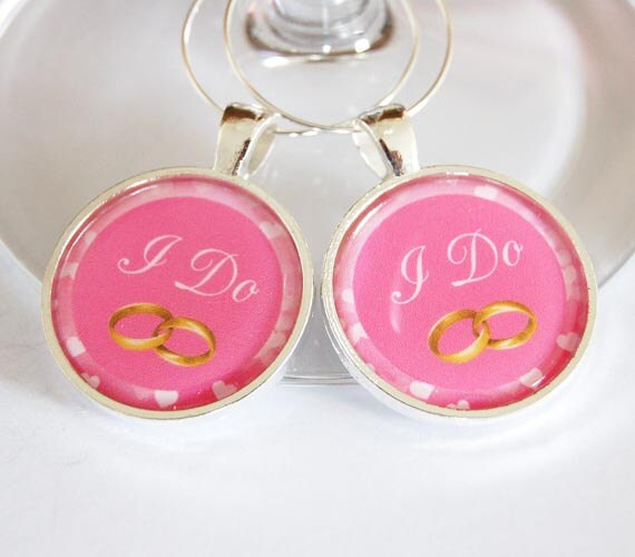 I Do Wine Charms, Wedding Wine Charms, Wine Charms, barware, wedding reception, pink, silver plate, bride groom charms (2291)