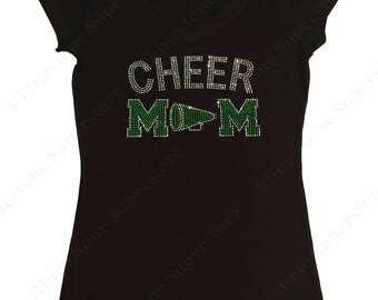 "Women's Rhinestone T-Shirt "" Green Cheer Mom with Megaphone "" in S, M, L, 1X, 2X, 3X"