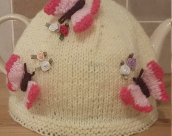Hand Knitted Butterfly Tea Cosy with Rose Buds