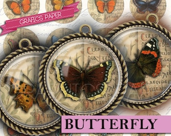 """Butterfly antiques - Butterflies - digital collage sheet - td33 - 1.5"""", 1.25"""", 30mm, 1 inch - circle Images Instant Download Pendants cameo"""