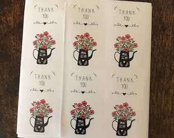 Thank You Stickers, thank you labels, adhesive label stickers, thank you flower stickers, floral thank you stickers set of 30