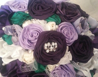 Purple and Green fabric bouquet