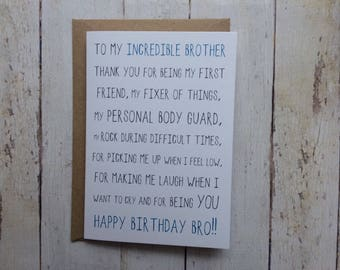 Brother birthday card // Funny brother birthday card // Birthday card for brother // Brother's Birthday // Sibling card // Sister to Brother