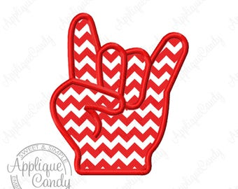 Rock On Hand Applique Machine Embroidery Design 4x4 5x7 6x10 INSTANT DOWNLOAD