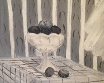 Original Acrylic Still Life Painting of Fruit/ Art Unframed 12 x 16 inch