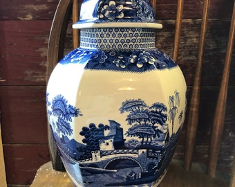 Vintage Spode Blue and White Tower Ginger Jar