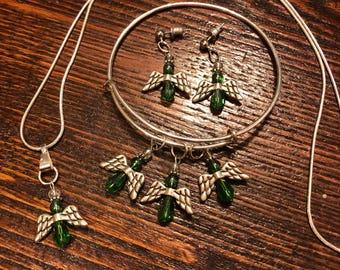 Sale - Angels Jewelry Set in Emerald Green - Necklace Bracelet Earrings