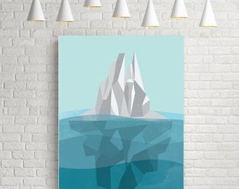 Iceberg, geometric art print, abstract wall art, original art, geometric wall art, abstract poster, geometric poster, nautical prints poster