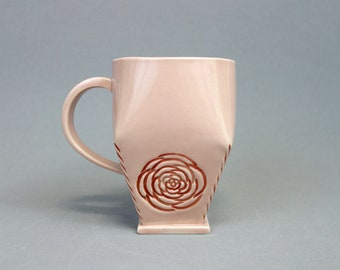 Pink Rosette Mug - Handbuilt Geometric Porcelain Coffee Cup with Handle - Two Tone Pink and Gray Mug with Rose Motif