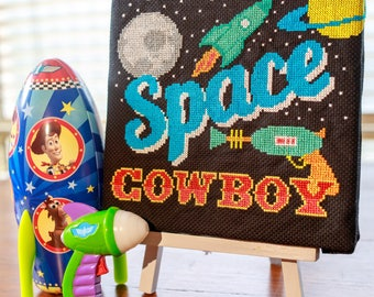 Space Cowboy Cross Stitch Pattern - Digital PDF Downloadable Pattern - Cowgirl - Outerspace
