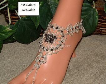 Crochet, Barefoot Sandals, Butterfly Anklet, Wedding Foot Jewelry, Popular, Crochet Item, Butterfly Jewelry, Women's Gift