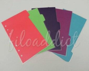 Filofax Personal Dividers - 5 Side Tabs in Bright Solids