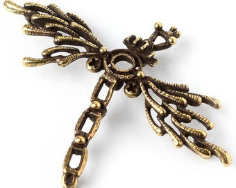 Mechanical firefly wing steampunk antique brass findings L3606. Designed and made by Anna Bronze.