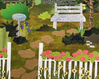 Meet Me In The Garden - paper collage art - original art - wall art