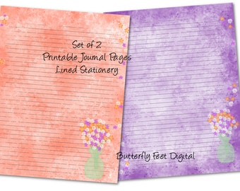 Printable Art Journal Pages, Lined Paper, Printable Stationery, Watercolor Art, Flowers, Floral Stationery