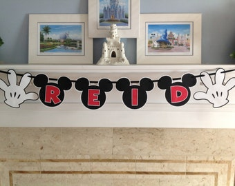 Mickey Mouse Gloves NAME Birthday Disney Banner