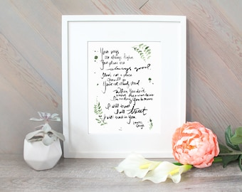 I Will Trust - Lyric Brush Lettering - watercolor print