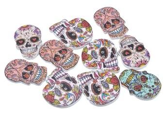 5 buttons skull dia los muertos, multicolored, 24.5 mm x 17.5 mm
