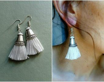 Pure white long tassel earrings
