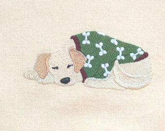 Golden Retriever in PJs Embroidered Kitchen Towel | Embroidered Towel | Personalized Kitchen Towel | Embroidered Tea Towel | Dog Lovers Gift
