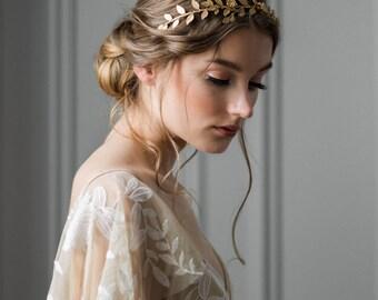 Climbing Vine Headband, Gold Tiara, Leaf Halo, Gold Leaf Headpiece, Leaf Crown, bridal tiara, Leaf Headband, Leaf tiara, Woodland, boho #109