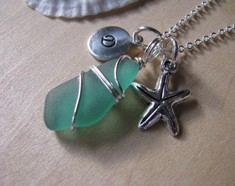 Mermaids Tear Pretty Aqua Sea Glass Jewelry Genuine Teal Beach Glass Turquoise Personalized Blue Sea Glass Necklace Starfish Necklace