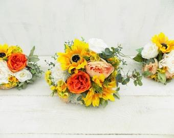 Sunflower wedding flowers bridal bouquet bridesmaid artificial silk flowers Spring Summer rose peony rustic wildflower boho bouquet package