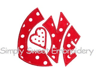 Love 3 Machine Embroidery Applique Design