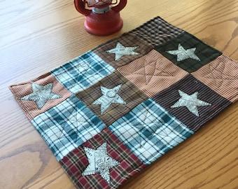 Plaid Stars Mini Quilt