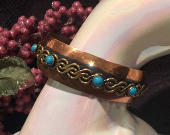 Copper cuff bracelet swirl overlay design turquoise accents vintage jewelry