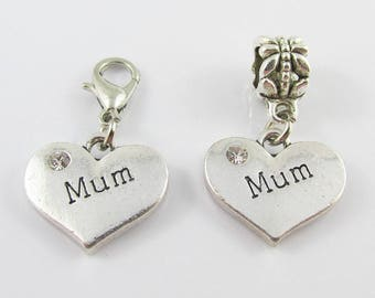 Mum Heart Charm with Rhinestone Select European Bail or Clip on Clasp
