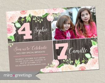 Floral Double Birthday Party Invitation - Printable Digital File