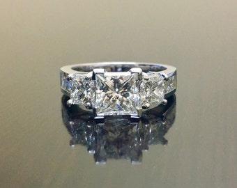 Three Stone Princess Cut Diamond Engagement Ring - Platinum Diamond Wedding Ring - GIA Diamond Princess Cut Platinum Ring - GIA Diamond Ring