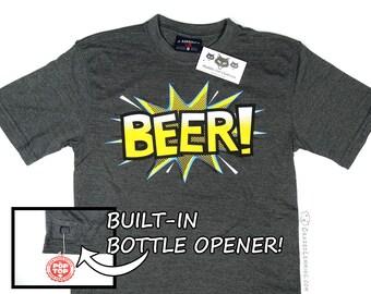 Comic Book BEER Shirt - Bottle Opener
