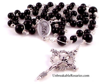 St Michael The Archangel Rosary Beads For Men in Black Onyx  with Nail Crucifix by Unbreakable Rosaries