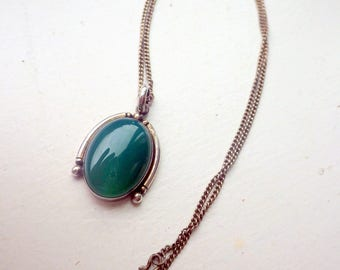 Rare Chrysoprase Sterling Silver Necklace
