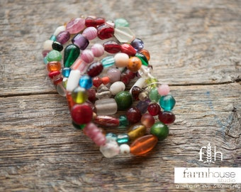 Wrap Bracelet, Red Beads, Bold Colors, Memory Wire, Fun Beaded Bracelet, Rainbow Beads
