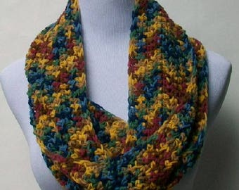 Crochet Scarf, Handmade Gold Blue Burgundy Yellow Scarf, Crochet Multi-colored Scarf, Handmade Multi Scarf, Crochet Neckwarmer ..